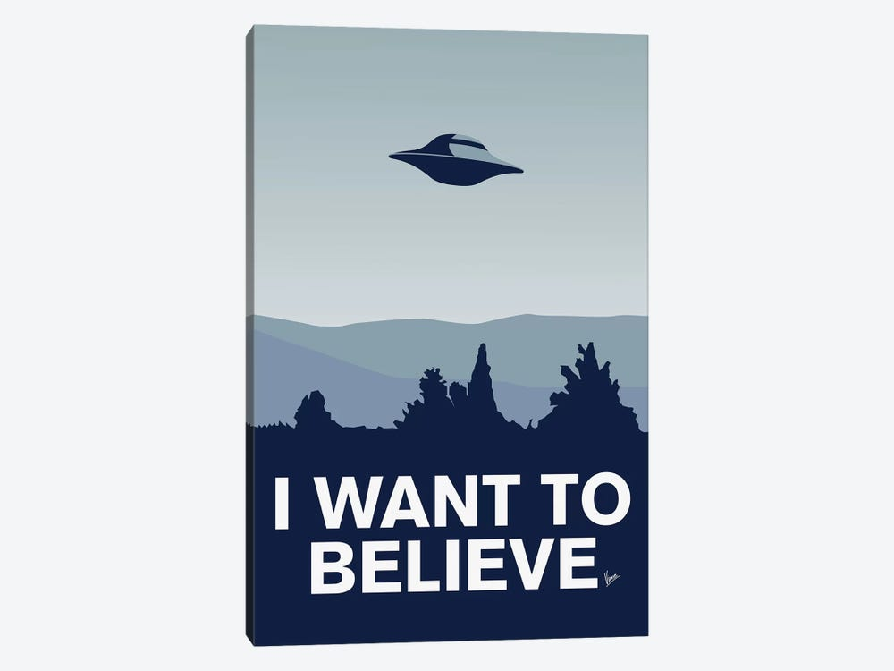 I Want To Believe Minimal Poster X-Files by Chungkong 1-piece Canvas Art
