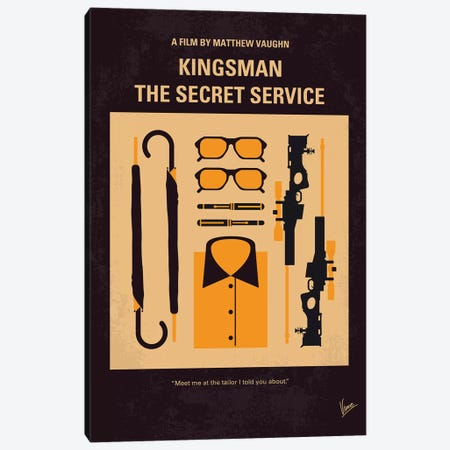 Kingsman Minimal Movie Poster Canvas Print #CKG899} by Chungkong Canvas Artwork