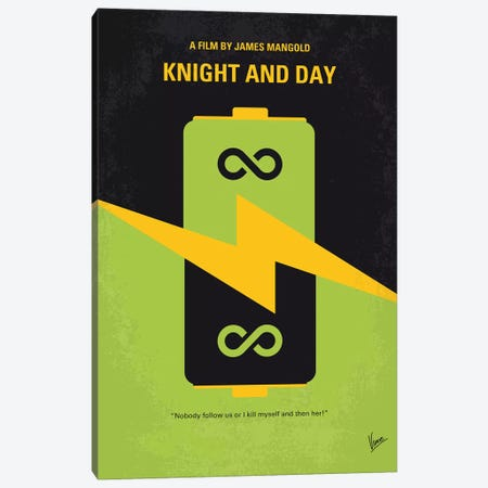 Knight And Day Minimal Movie Poster Canvas Print #CKG900} by Chungkong Canvas Art