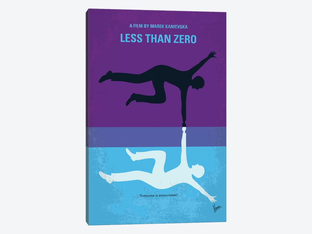 Less Than Zero Minimal Movie Poster by Chungkong 1-piece Canvas Art Print