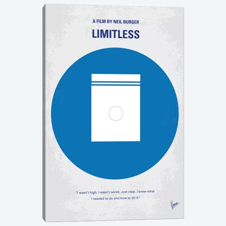 Limitless Minimal Movie Poster Canvas Print #CKG909} by Chungkong Canvas Wall Art