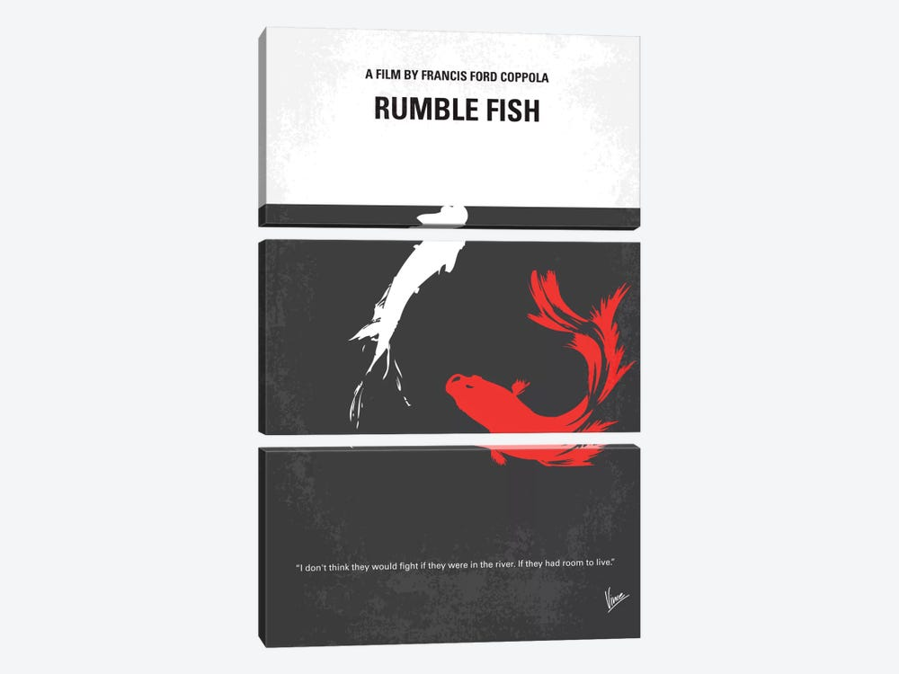Rumble Fish Minimal Movie Poster 3-piece Canvas Wall Art