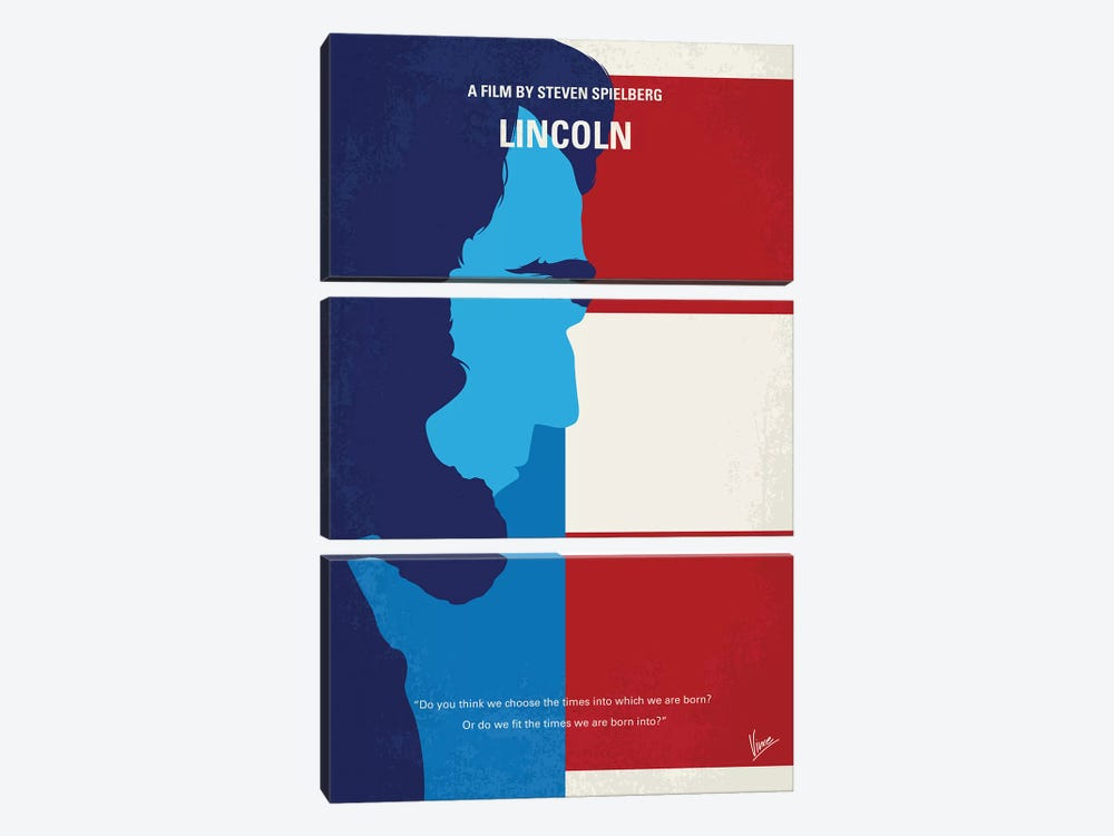 Lincoln Minimal Movie Poster by Chungkong 3-piece Canvas Wall Art
