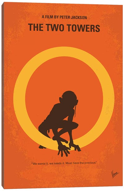 LOTR II Minimal Movie Poster Canvas Art Print