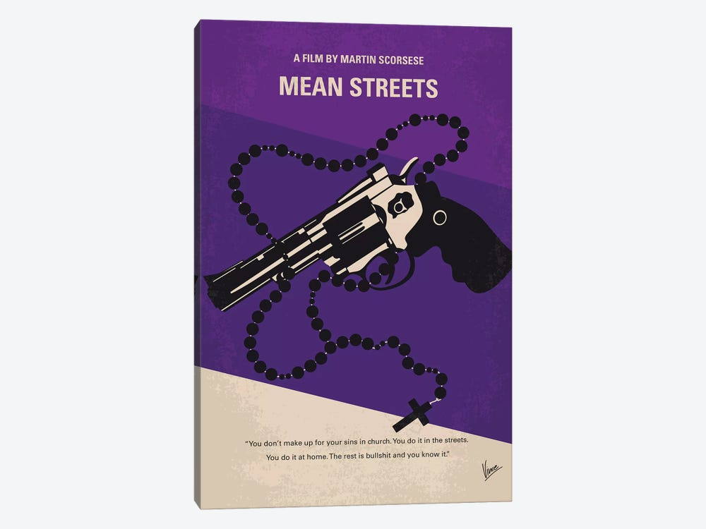 Mean Streets Minimal Movie Poster by Chungkong 1-piece Canvas Art Print