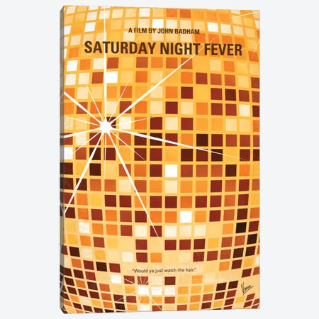 Saturday Night Fever Minimal Movie Poster Canvas Print #CKG91} by Chungkong Canvas Wall Art