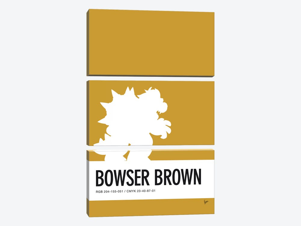 Minimal Colorcode Poster Bowser by Chungkong 3-piece Canvas Art Print