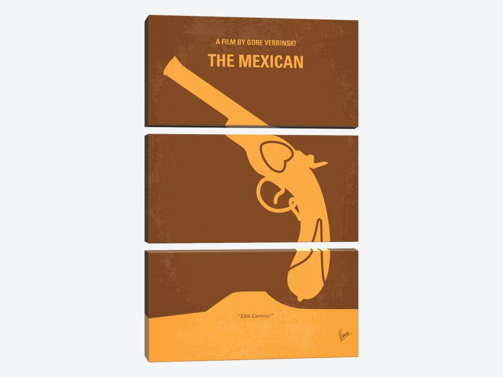 The Mexican Minimal Movie Poster by Chungkong 3-piece Canvas Wall Art