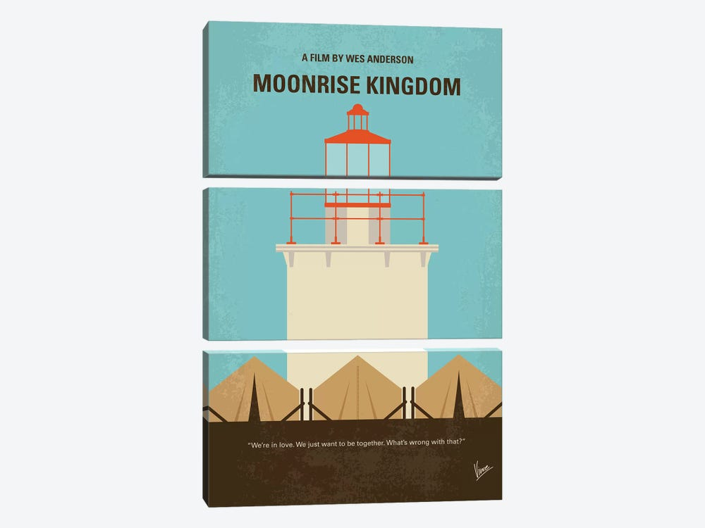 Moonrise Kingdom Minimal Movie Poster 3-piece Canvas Artwork