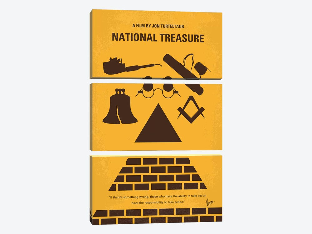National Treasure Minimal Movie Poster by Chungkong 3-piece Canvas Wall Art