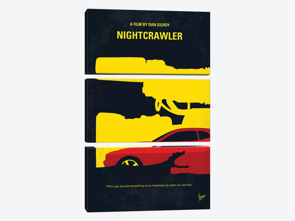 Nightcrawler Minimal Movie Poster by Chungkong 3-piece Canvas Artwork
