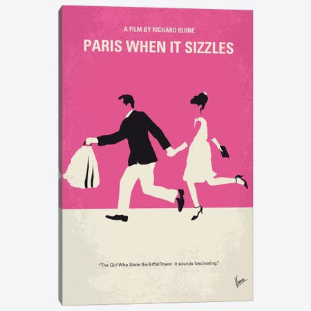 Paris When It Sizzles Minimal Movie Poster Canvas Print #CKG983} by Chungkong Canvas Artwork