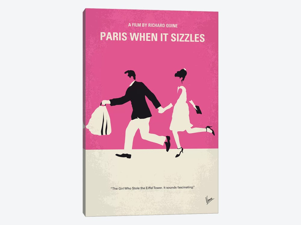 Paris When It Sizzles Minimal Movie Poster by Chungkong 1-piece Canvas Artwork