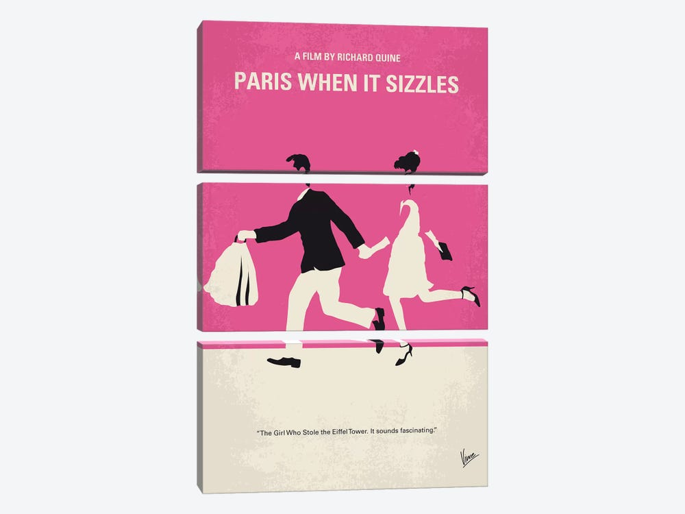 Paris When It Sizzles Minimal Movie Poster by Chungkong 3-piece Canvas Artwork
