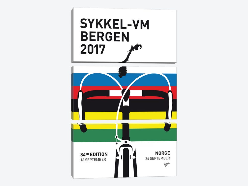 2017 UCI Road World Championships Minimal Poster by Chungkong 3-piece Canvas Art