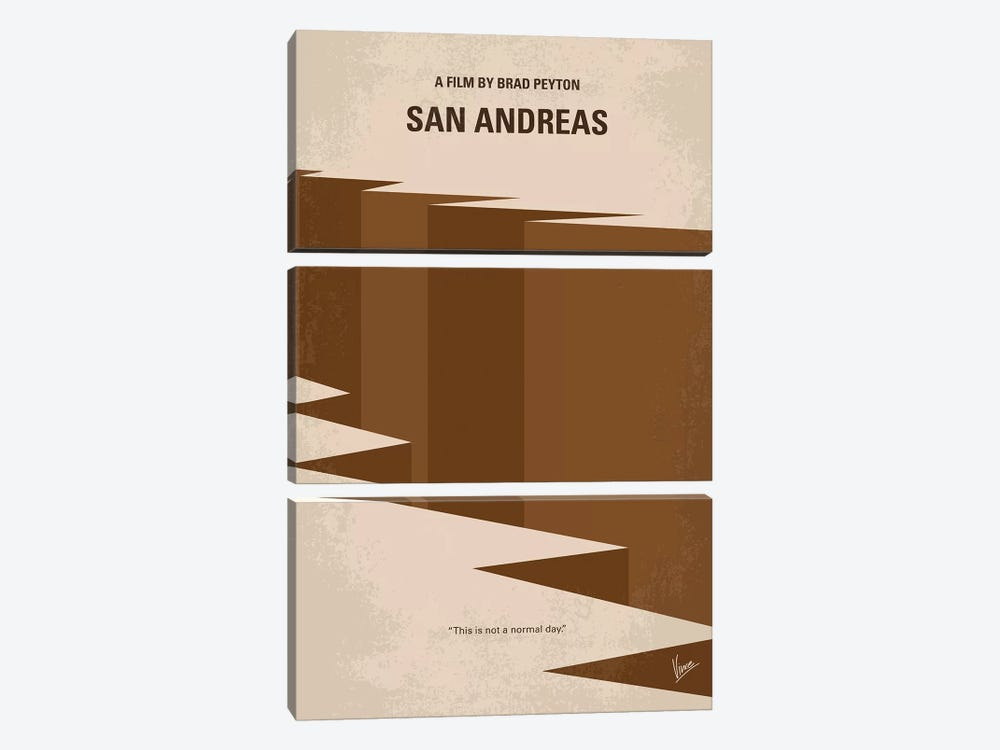 San Andreas Minimal Movie Poster 3-piece Canvas Art Print