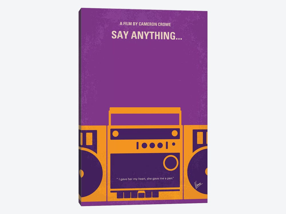 Say Anything Minimal Movie Poster by Chungkong 1-piece Canvas Art
