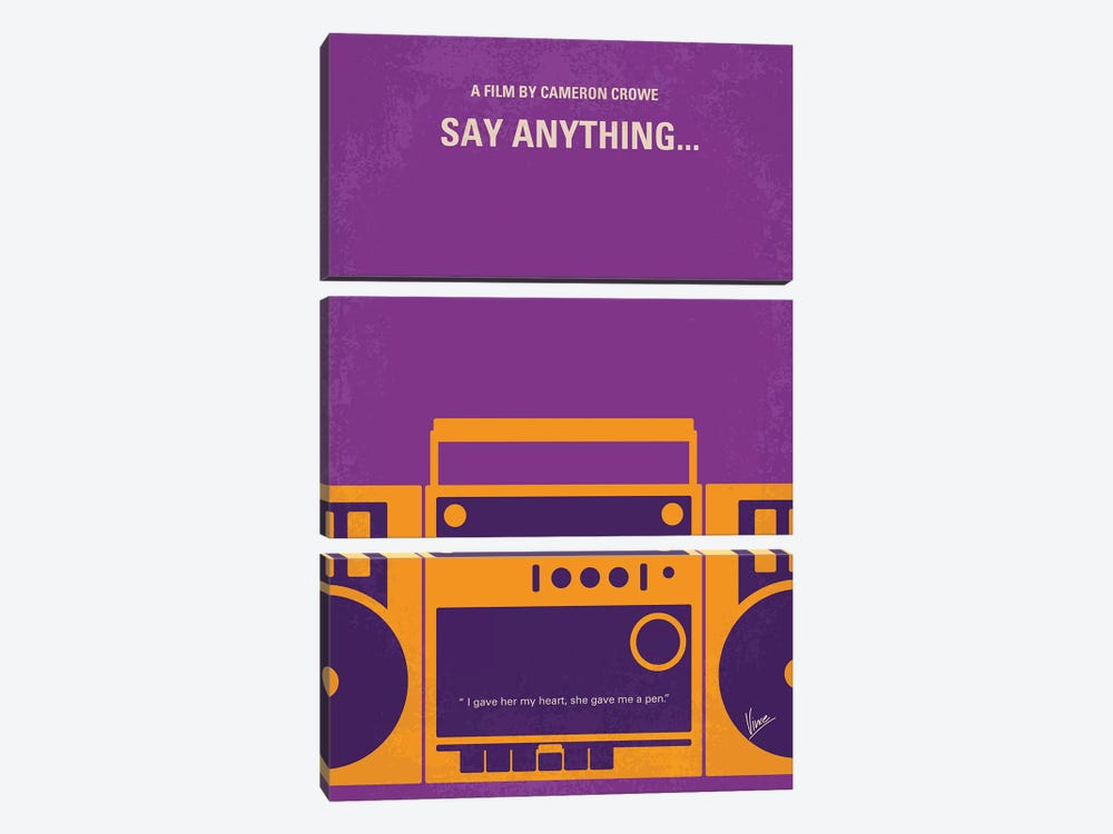 Say Anything Minimal Movie Poster by Chungkong 3-piece Canvas Wall Art
