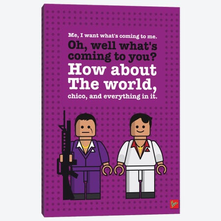 Scarface Lego Dialogue Poster Canvas Print #CKG997} by Chungkong Canvas Artwork