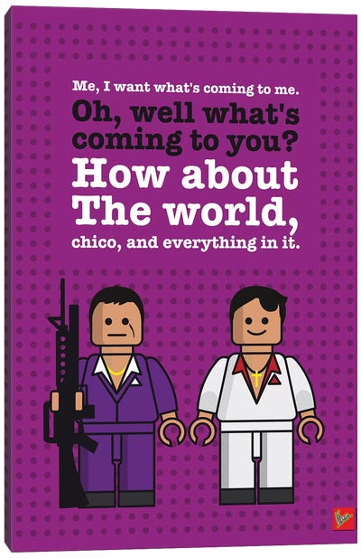 Scarface Lego Dialogue Poster Canvas Art Print