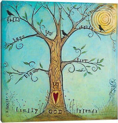 Faith Family Friends Tree Canvas Art Print