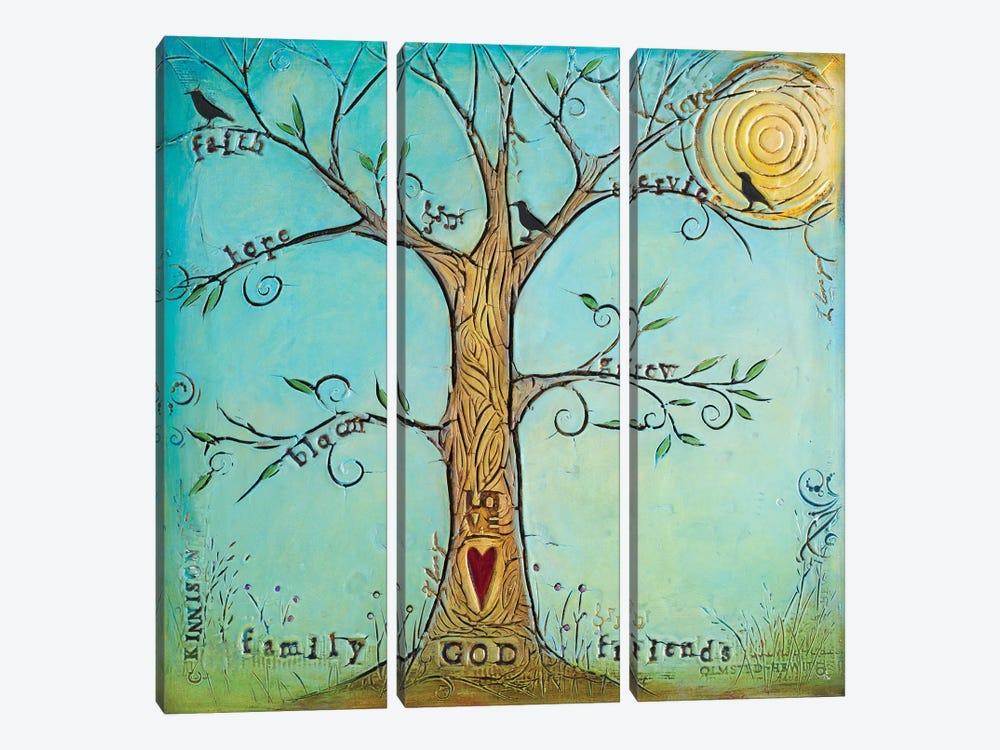 Faith Family Friends Tree by Carolyn Kinnison 3-piece Canvas Print