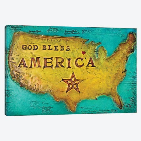 God Bless America Canvas Print #CKI9} by Carolyn Kinnison Canvas Art Print