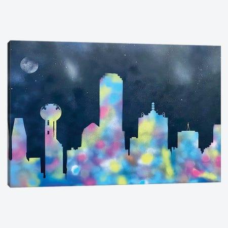 Dallas At Night Canvas Print #CKL1} by Clint Barkley Canvas Artwork