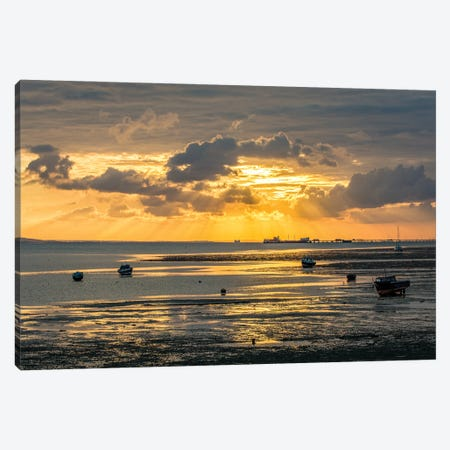 Sunset At Low Tide - Southend Canvas Print #CKP14} by Colin Kemp Photography Canvas Wall Art