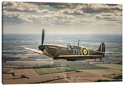 Spitfire N3200 Over Duxford Canvas Art Print