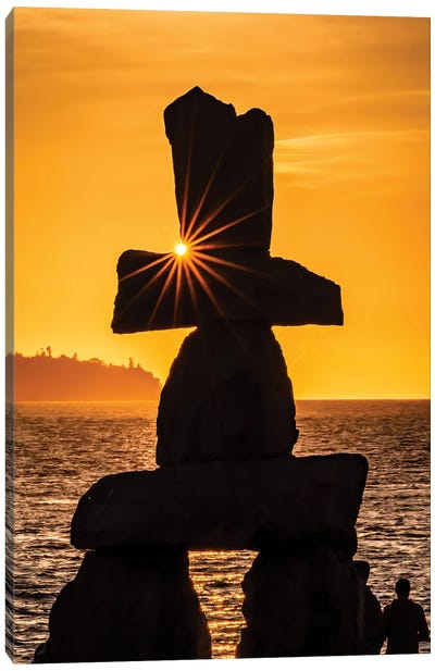 Evening Sunburst, Inukshuk Sculpture, Vancouver Canvas Art Print