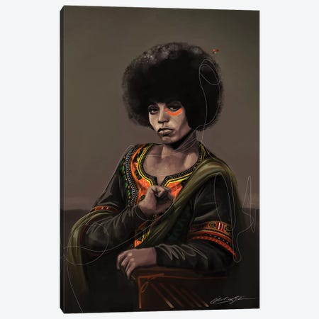 BHM Angela Davis Canvas Print #CKS10} by Chuck Styles Canvas Art