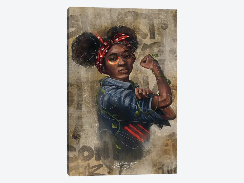 Black Girl Strong by Chuck Styles 1-piece Canvas Art Print
