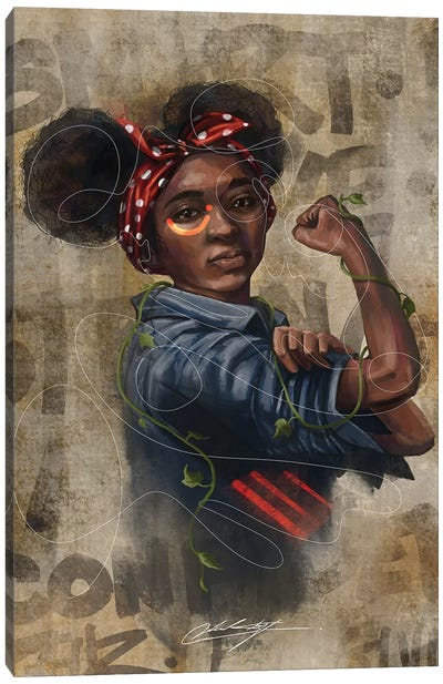 Black Girl Strong Canvas Art Print