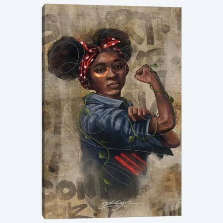 Black Girl Strong Canvas Print #CKS15} by Chuck Styles Canvas Art Print