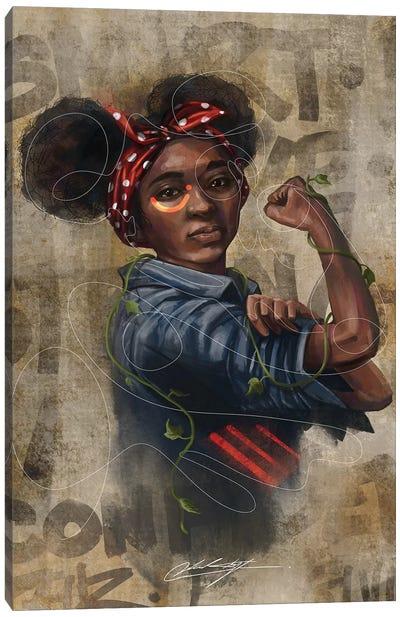 Black Girl Strong Canvas Art Print