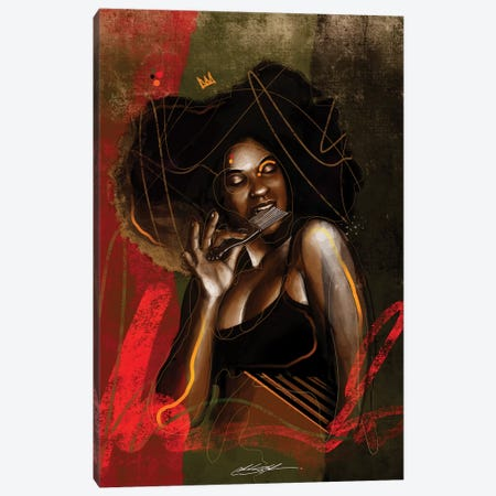 Her Afro Pick Canvas Print #CKS23} by Chuck Styles Art Print