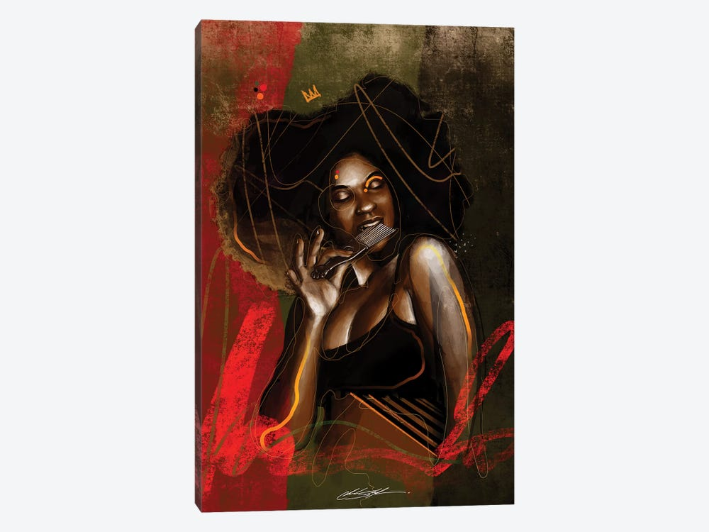 Her Afro Pick by Chuck Styles 1-piece Canvas Wall Art