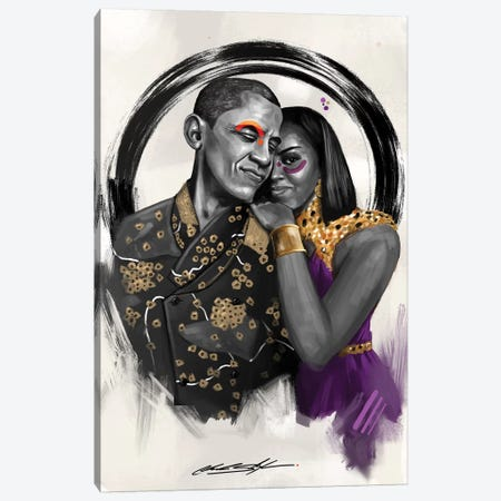 The Obamas Canvas Print #CKS45} by Chuck Styles Canvas Art