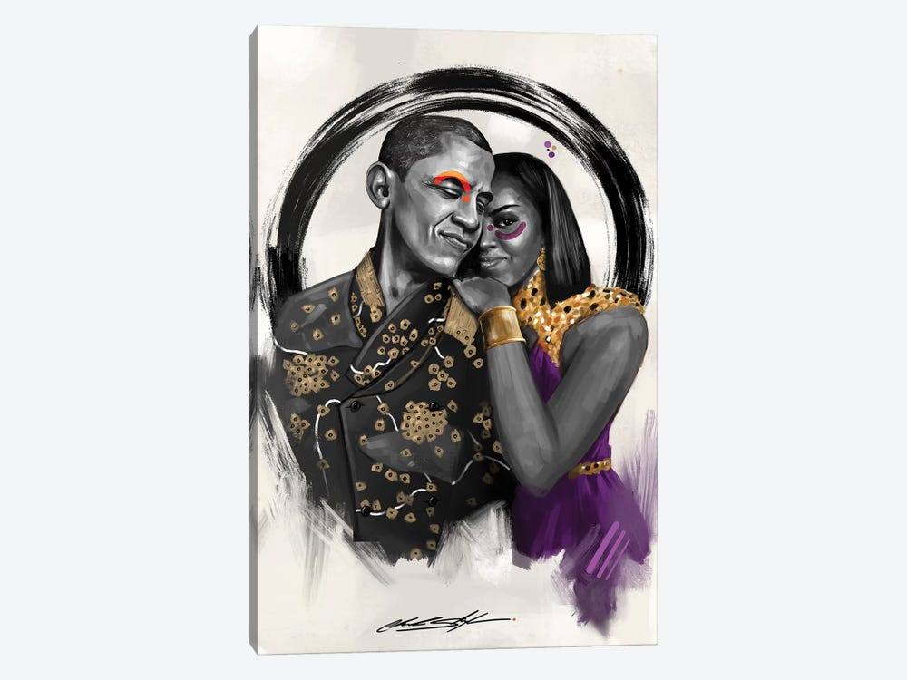 The Obamas by Chuck Styles 1-piece Canvas Artwork