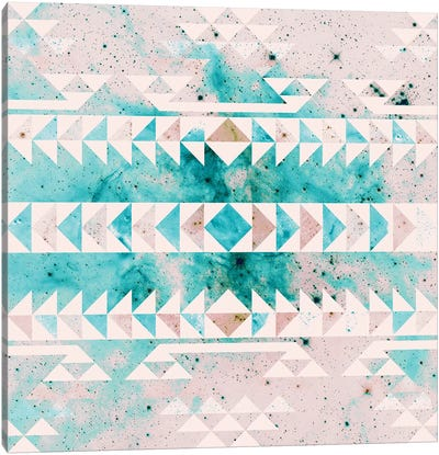 Teal Gold Tribal Canvas Art Print