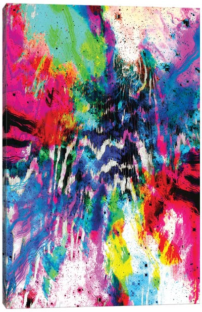 Technicolor Zebra Splatter Canvas Art Print