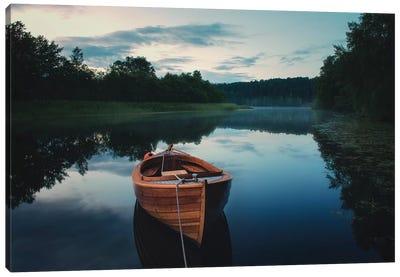 Boat In Fog Canvas Art Print
