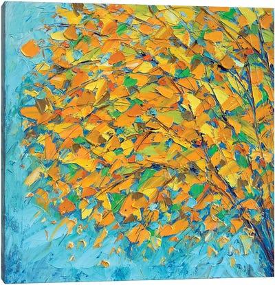 Autumn On Teal Canvas Art Print