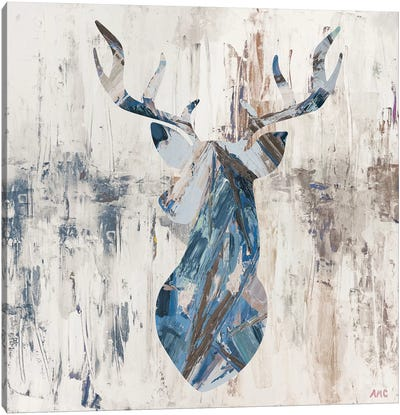 Blue Rhizome Deer Bust Canvas Art Print