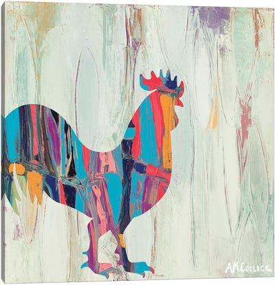 Bright Rhizome Rooster Canvas Art Print