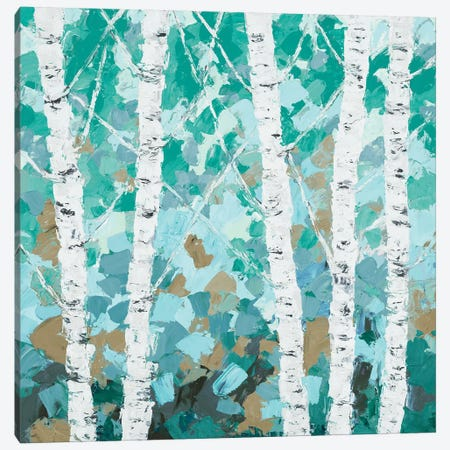 Teal Dancing Birch Tree Canvas Print #CLK56} by Ann Marie Coolick Canvas Wall Art