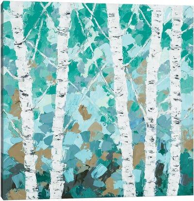 Teal Dancing Birch Tree Canvas Art Print