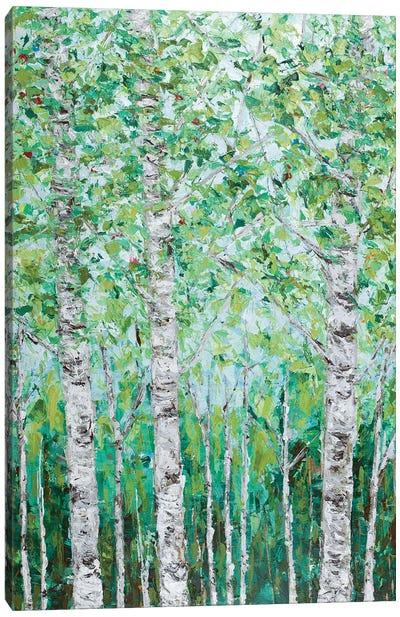 Green Birchwood I Canvas Art Print