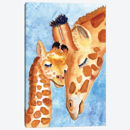 Mother And Baby Giraffes Nuzzle Canvas Print #CLN21} by Carlin Canvas Art Print
